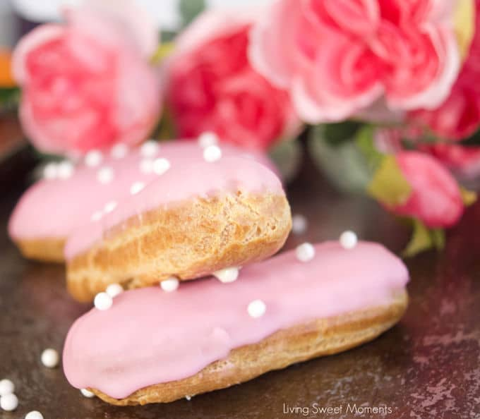 These delicate vanilla eclairs features a crunchy pate au choux filled homemade vanilla pastry cream and topped with a sweet glaze. A classic french pastry.