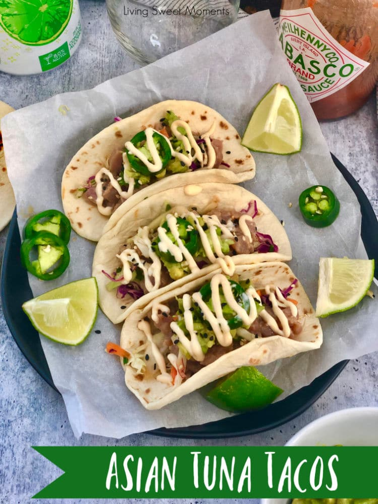 Delight your friends with these delicious Asian Style Tuna Tacos. Marinated ahi tuna is served over an asian slaw, avocados, and covered with spicy mayo.