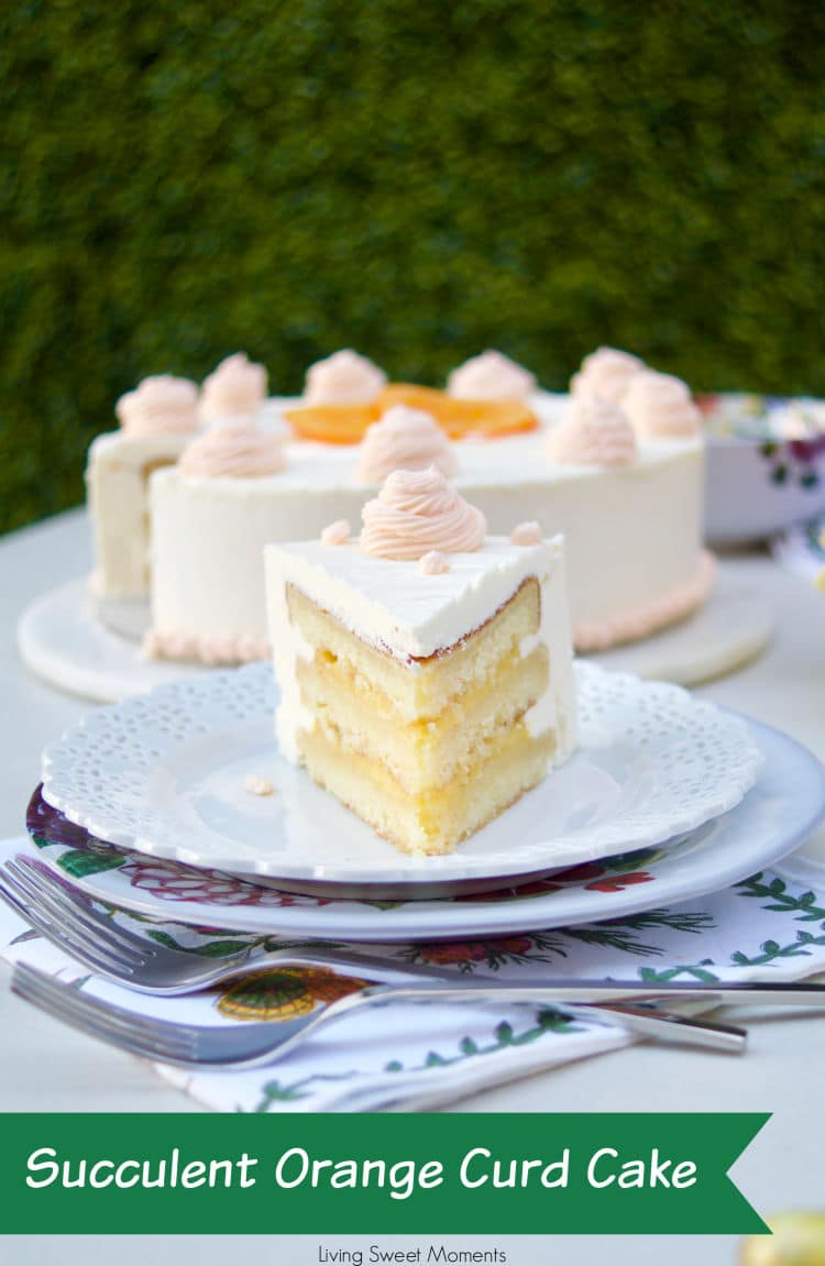 This amazing Succulent Orange Curd Cake consists of 3 layers of moist orange cake filled with orange curd and topped with Swiss vanilla buttercream