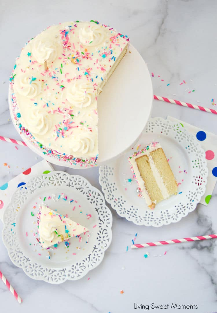 This delicious and super moist vanilla cake recipe is one you'll make over and over! It has a soft and delicious crumb with a hint of sweetness and vanilla.