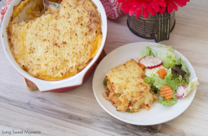 Give your weeknight dinner a Latin twist and make this delicious Baked Yuca Pie filled with shredded chicken and topped with lots of cheese