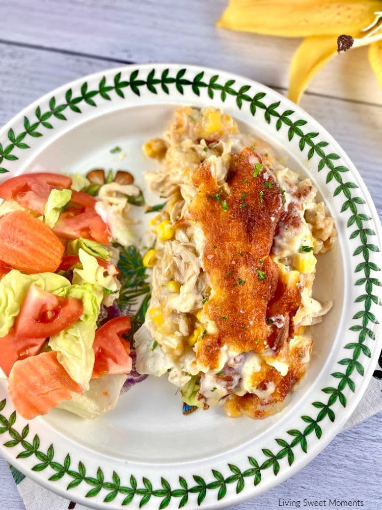 Chicken and Corn Crepe Casserole. Enjoy delicate crepes filled with chicken, cheese, & corn then baked in a creamy Bechamel sauce. The perfect comfort food