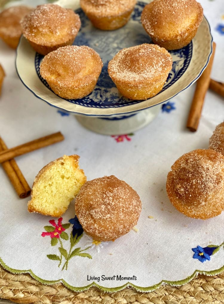 These delicate Cinnamon Sugar Mini Donut Muffins have a moist soft crumb with a crunchy cinnamon-sugar topping. Perfect to serve with coffee or breakfast.