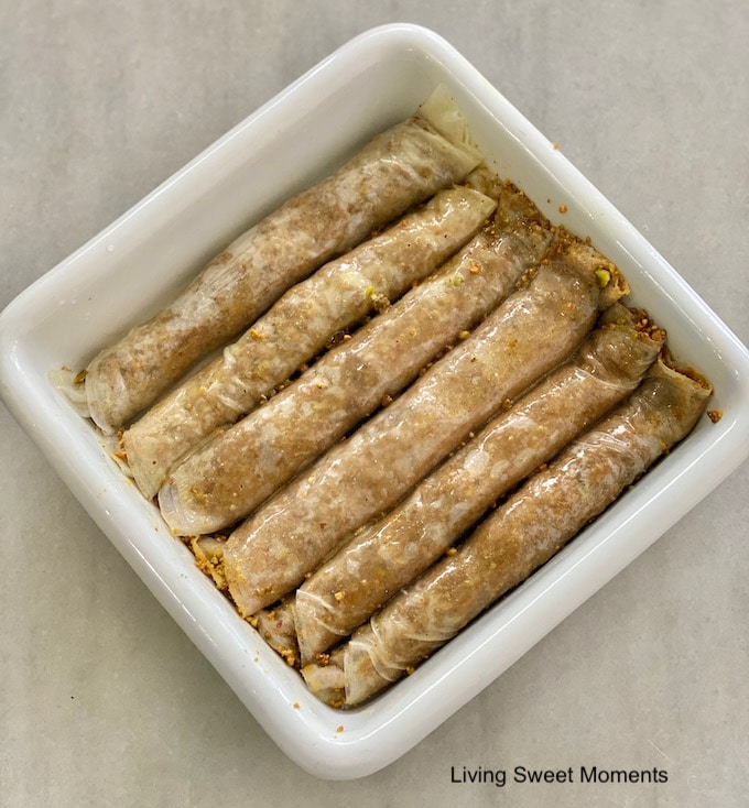 I swear this is the Easiest Rolled Pistachio Baklava recipe you will make! No more fiddling with delicate phyllo dough. The shortcut is using Spring Roll wrappers. You'll get the same result with none of the work!