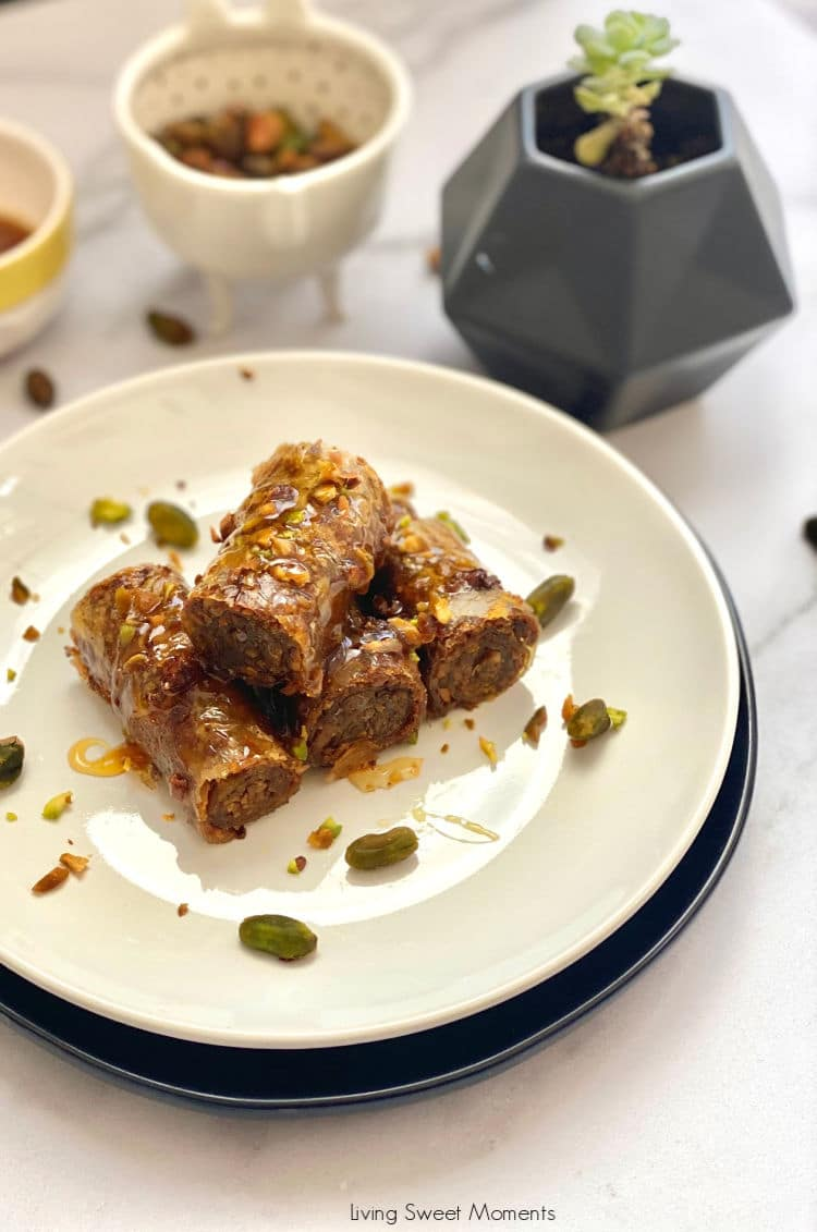I swear this is the Easiest Rolled Pistachio Baklava recipe you will make! No more fiddling with delicate phyllo dough. The shortcut is using Blue Dragon® Spring Roll wrappers from Whole Foods. You'll get the same result with none of the work!