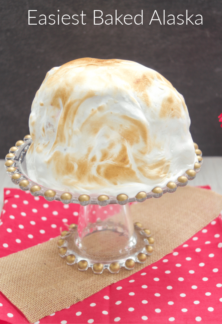 Check out the Easiest Baked Alaska: A delicious layer of walnut cake, banana ice cream, strawberry ice cream, and Italian meringue!