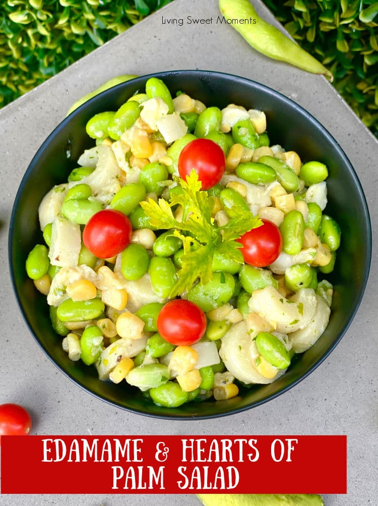 This fresh Hearts of Palm Edamame Salad has corn, cilantro, and is drizzled with an easy dijon dressing. The perfect healthy salad for any occasion.
