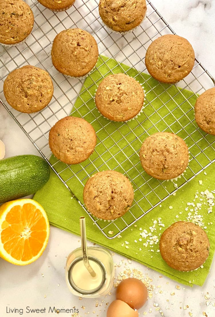 Made with the juice and zest, these Moist Orange Zucchini Muffins have hints of spice to take their flavor to another level. Perfect for breakfast!
