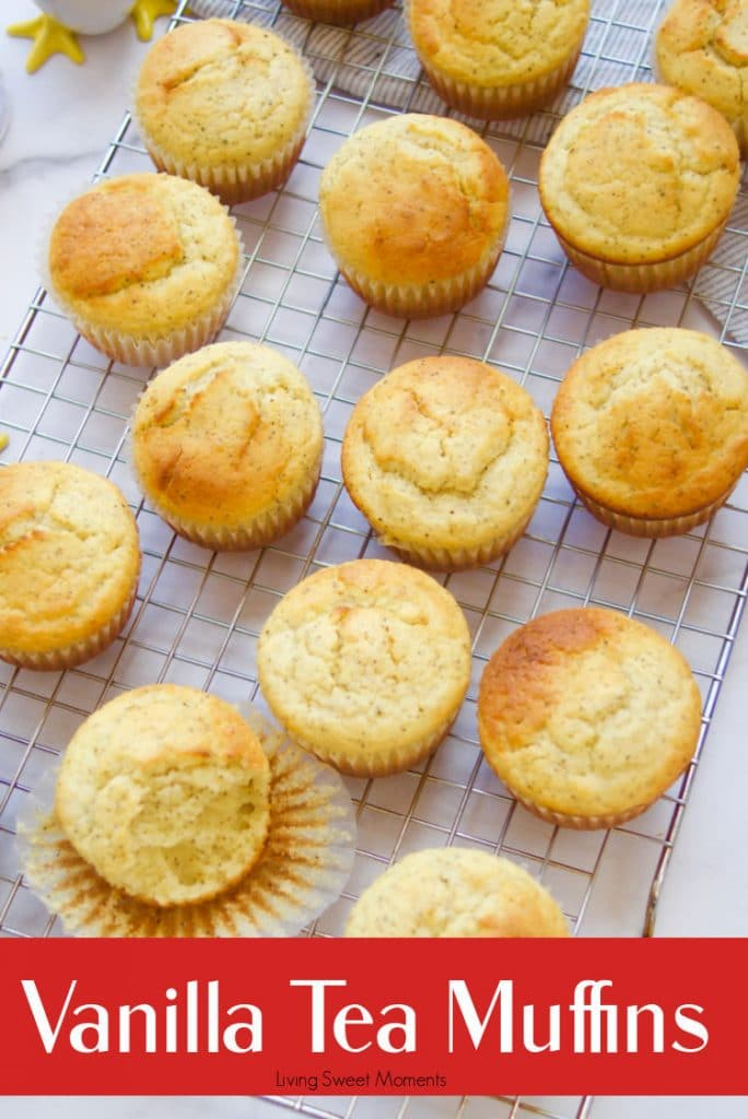 Perfect for breakfast or snacking, these delicate and soft Vanilla Tea Muffins are made with black tea giving it a beautiful & aromatic flavor